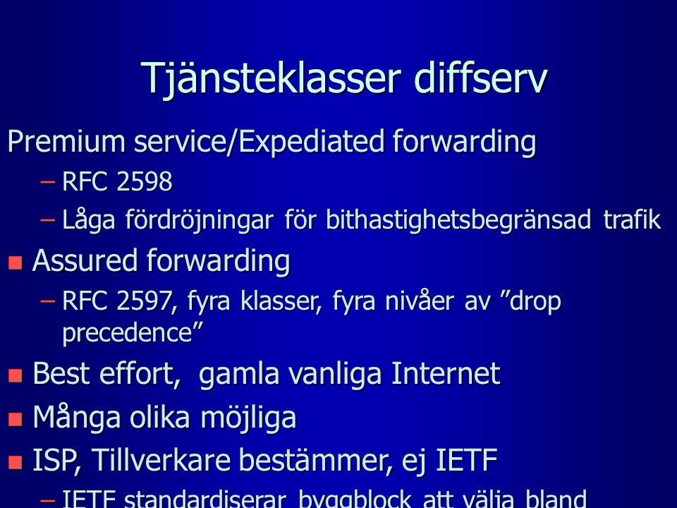 Tjänsteklasser diffserv Premium service/Expediated forwarding –RFC 2598 –Låga fördröjningar för bithastighetsbegränsad trafik n Assured forwarding –RFC 2597, fyra klasser, fyra nivåer av drop precedence n Best effort, gamla vanliga Internet n Många olika möjliga n ISP, Tillverkare bestämmer, ej IETF –IETF standardiserar byggblock att välja bland