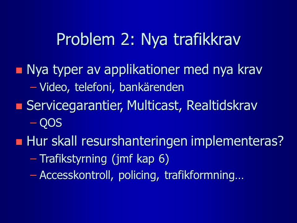 Problem 2: Nya trafikkrav n Nya typer av applikationer med nya krav –Video, telefoni, bankärenden n Servicegarantier, Multicast, Realtidskrav –QOS n Hur skall resurshanteringen implementeras.