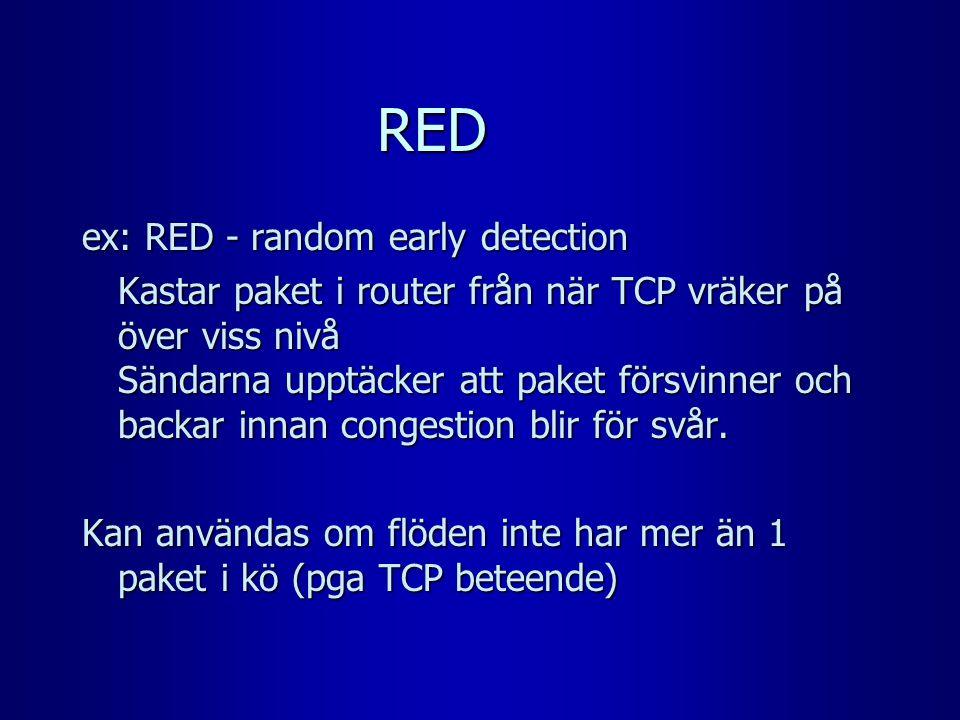 RED ex: RED - random early detection Kastar paket i router från när TCP vräker på över viss nivå Sändarna upptäcker att paket försvinner och backar in