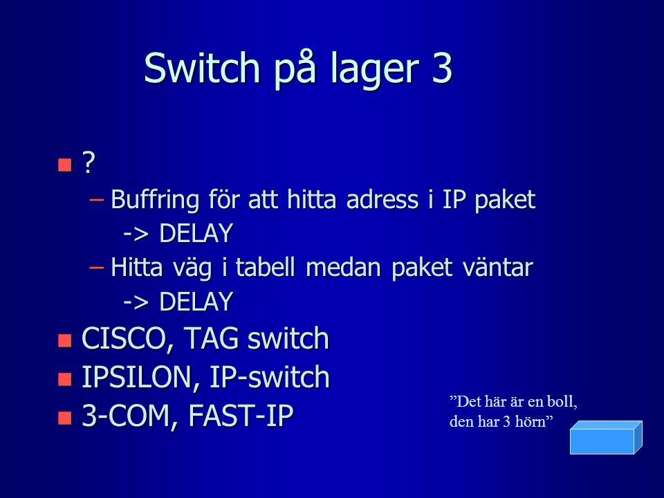 Switch på lager 3 n ? –Buffring för att hitta adress i IP paket -> DELAY –Hitta väg i tabell medan paket väntar -> DELAY n CISCO, TAG switch n IPSILON