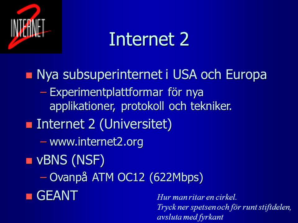 Internet 2 n Nya subsuperinternet i USA och Europa –Experimentplattformar för nya applikationer, protokoll och tekniker. n Internet 2 (Universitet) –w