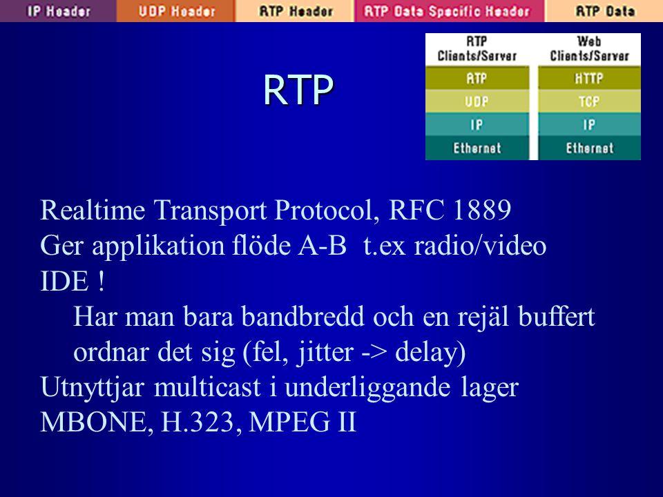 RTP Realtime Transport Protocol, RFC 1889 Ger applikation flöde A-B t.ex radio/video IDE ! Har man bara bandbredd och en rejäl buffert ordnar det sig