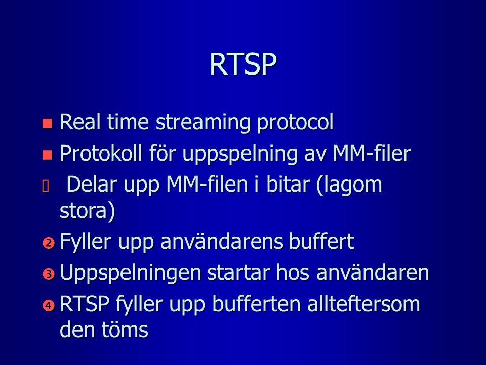 RTSP n Real time streaming protocol n Protokoll för uppspelning av MM-filer  Delar upp MM-filen i bitar (lagom stora)  Fyller upp användarens buffert  Uppspelningen startar hos användaren  RTSP fyller upp bufferten allteftersom den töms