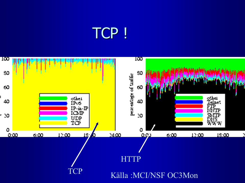 TCP ! TCP HTTP Källa :MCI/NSF OC3Mon