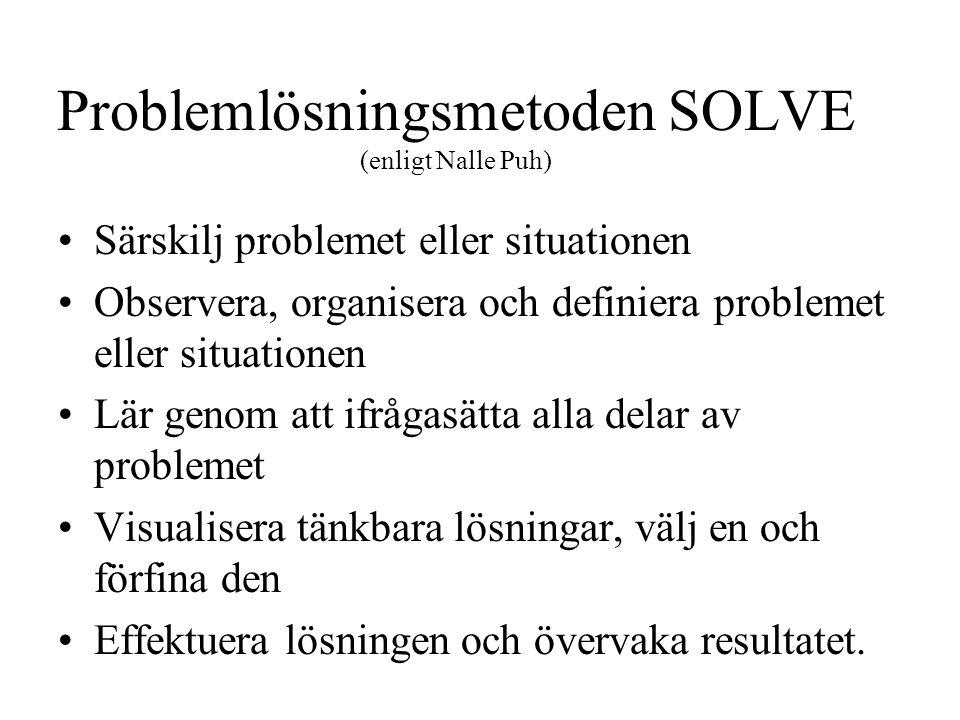 Problemlösningsmetoden SOLVE (enligt Nalle Puh) Särskilj problemet eller situationen Observera, organisera och definiera problemet eller situationen Lär genom att ifrågasätta alla delar av problemet Visualisera tänkbara lösningar, välj en och förfina den Effektuera lösningen och övervaka resultatet.