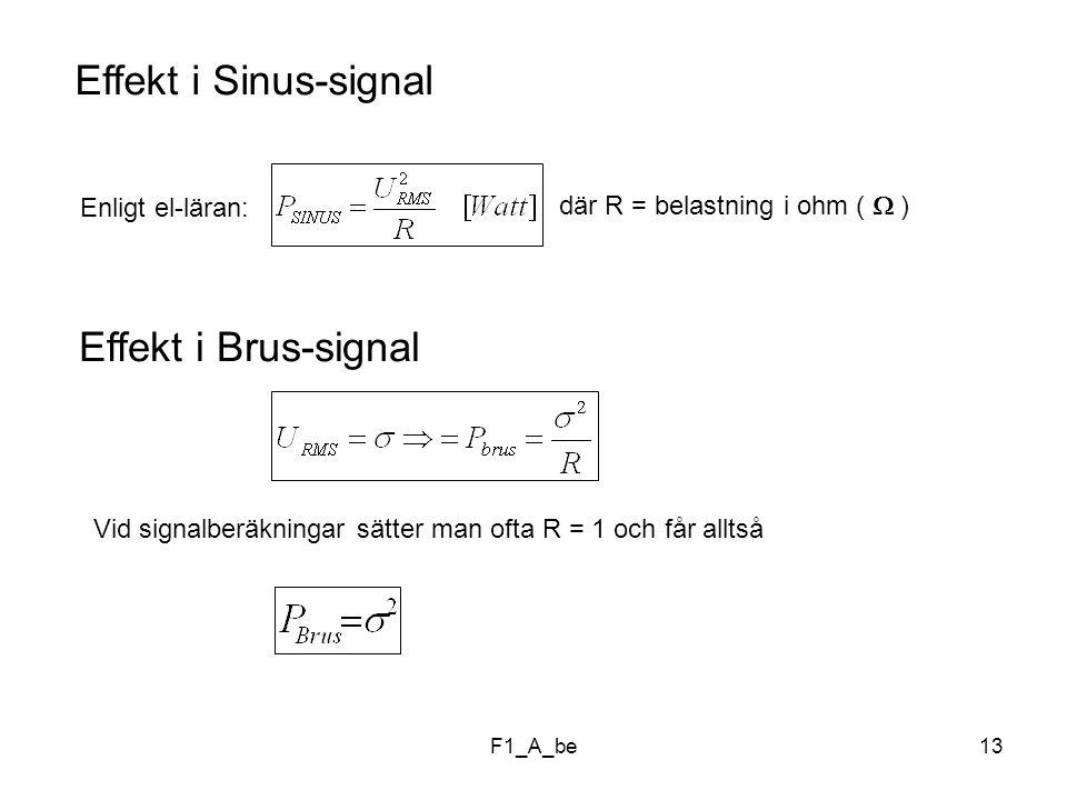 F1_A_be13 Effekt i Sinus-signal Enligt el-läran: där R = belastning i ohm (  ) Effekt i Brus-signal Vid signalberäkningar sätter man ofta R = 1 och får alltså