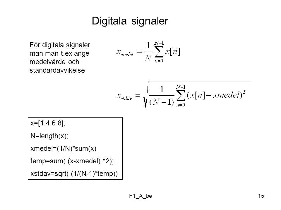 F1_A_be15 Digitala signaler För digitala signaler man man t.ex ange medelvärde och standardavvikelse x=[1 4 6 8]; N=length(x); xmedel=(1/N)*sum(x) temp=sum( (x-xmedel).^2); xstdav=sqrt( (1/(N-1)*temp))