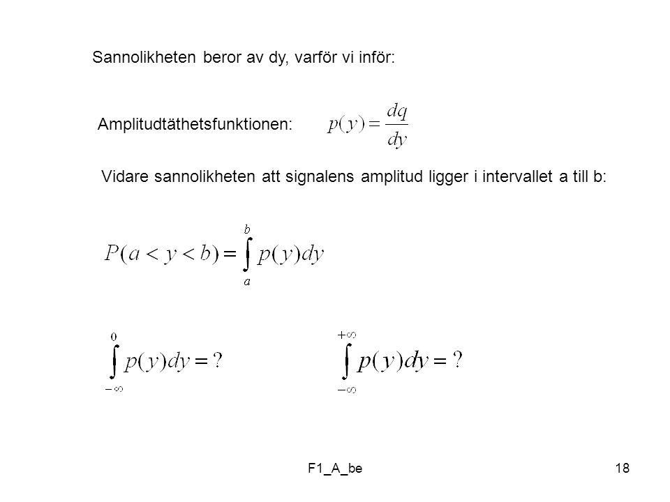 F1_A_be18 Sannolikheten beror av dy, varför vi inför: Amplitudtäthetsfunktionen: Vidare sannolikheten att signalens amplitud ligger i intervallet a till b: