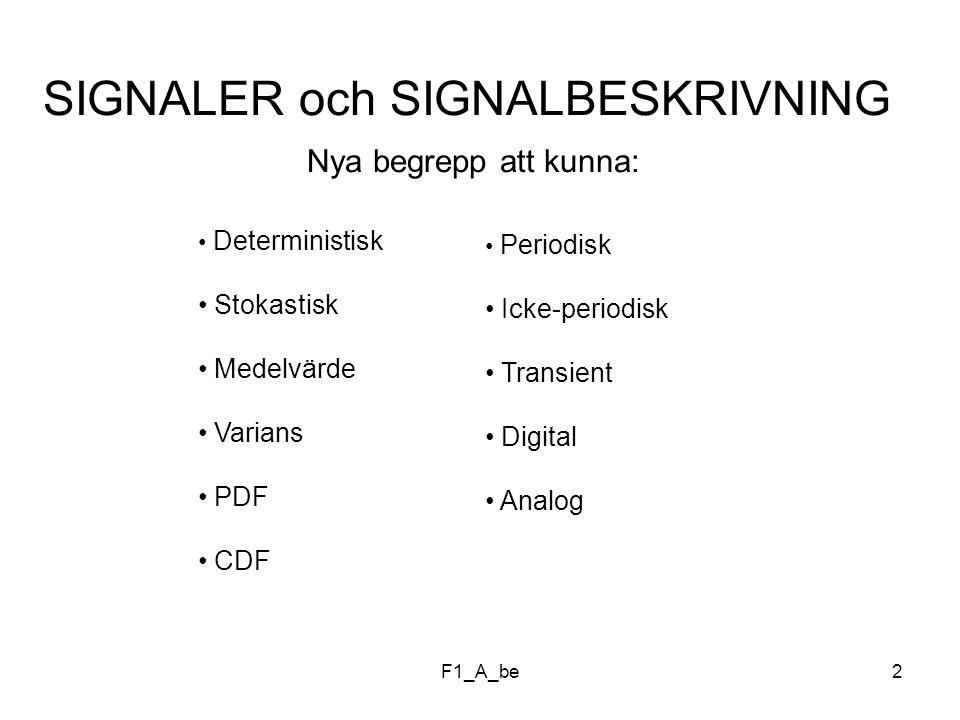 F1_A_be2 SIGNALER och SIGNALBESKRIVNING Nya begrepp att kunna: Deterministisk Stokastisk Medelvärde Varians PDF CDF Periodisk Icke-periodisk Transient Digital Analog