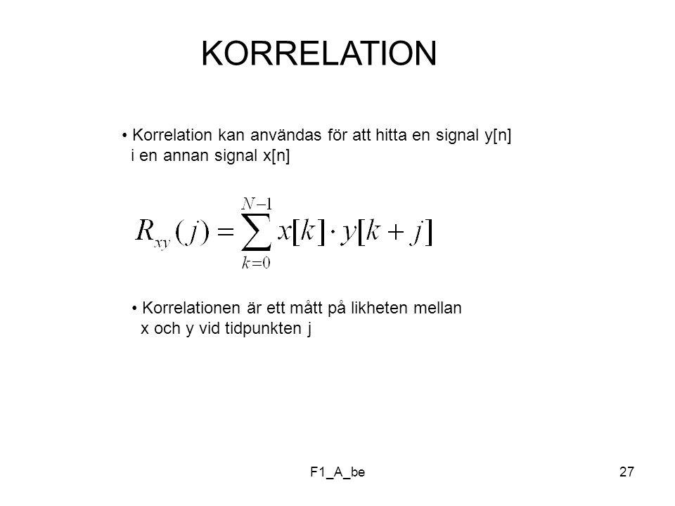 F1_A_be27 KORRELATION Korrelation kan användas för att hitta en signal y[n] i en annan signal x[n] Korrelationen är ett mått på likheten mellan x och y vid tidpunkten j