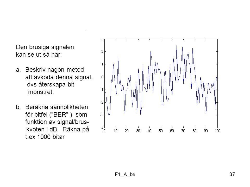 F1_A_be37 Den brusiga signalen kan se ut så här: a.Beskriv någon metod att avkoda denna signal, dvs återskapa bit- mönstret.