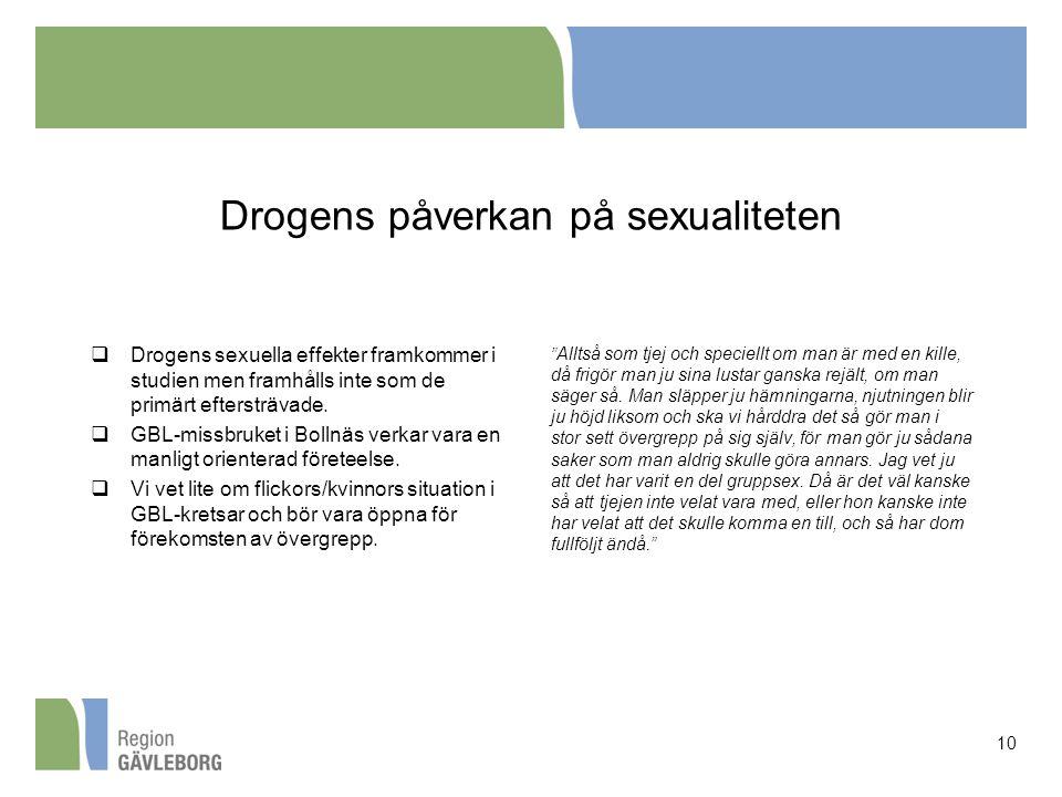 Drogens påverkan på sexualiteten  Drogens sexuella effekter framkommer i studien men framhålls inte som de primärt eftersträvade.  GBL-missbruket i