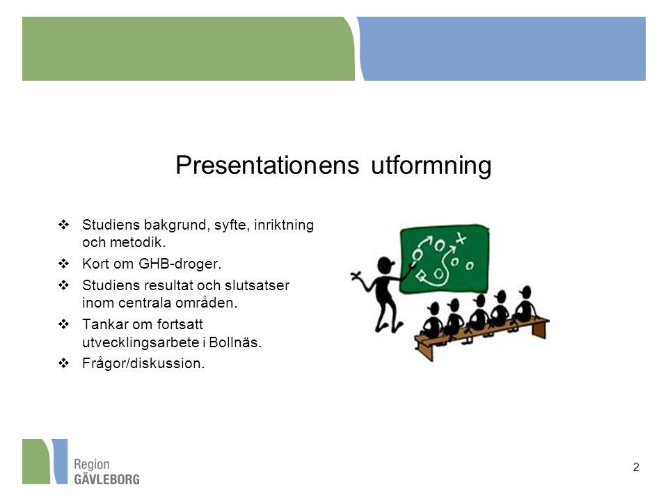 Presentationens utformning  Studiens bakgrund, syfte, inriktning och metodik.  Kort om GHB-droger.  Studiens resultat och slutsatser inom centrala
