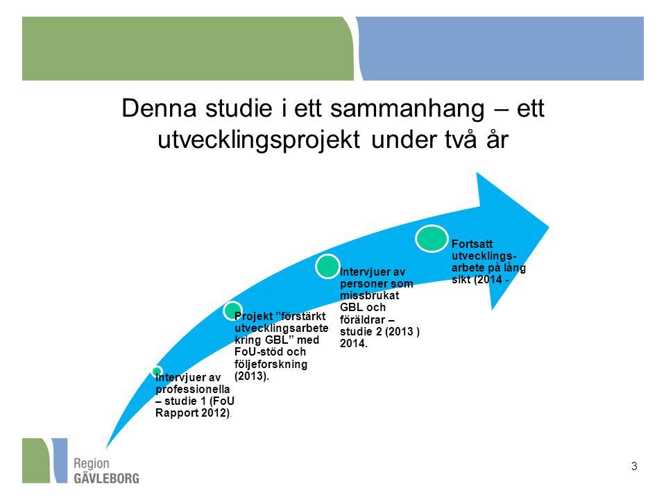 """Denna studie i ett sammanhang – ett utvecklingsprojekt under två år 3 Intervjuer av professionella – studie 1 (FoU Rapport 2012). Projekt """"förstärkt u"""