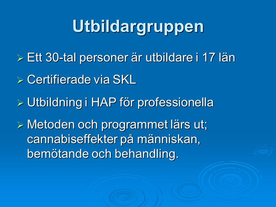 Utbildargruppen  Ett 30-tal personer är utbildare i 17 län  Certifierade via SKL  Utbildning i HAP för professionella  Metoden och programmet lärs