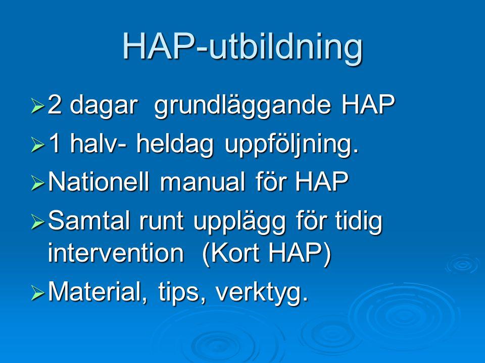 HAP-utbildning  2 dagar grundläggande HAP  1 halv- heldag uppföljning.  Nationell manual för HAP  Samtal runt upplägg för tidig intervention (Kort