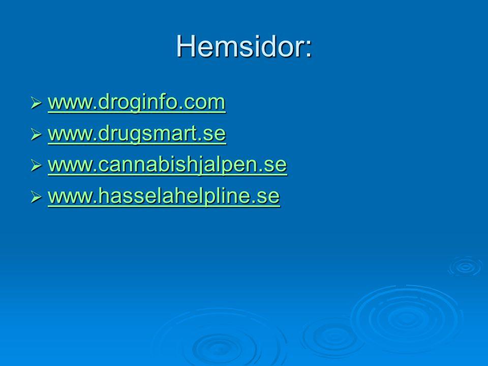 Hemsidor:  www.droginfo.com www.droginfo.com  www.drugsmart.se www.drugsmart.se  www.cannabishjalpen.se www.cannabishjalpen.se  www.hasselahelplin
