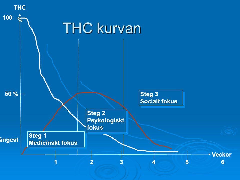 THC 100 % 50 % Veckor 123456 Steg 3 Socialt fokus Steg 3 Socialt fokus ångest THC kurvan Steg 2 Psykologiskt fokus Steg 2 Psykologiskt fokus Steg 1 Me