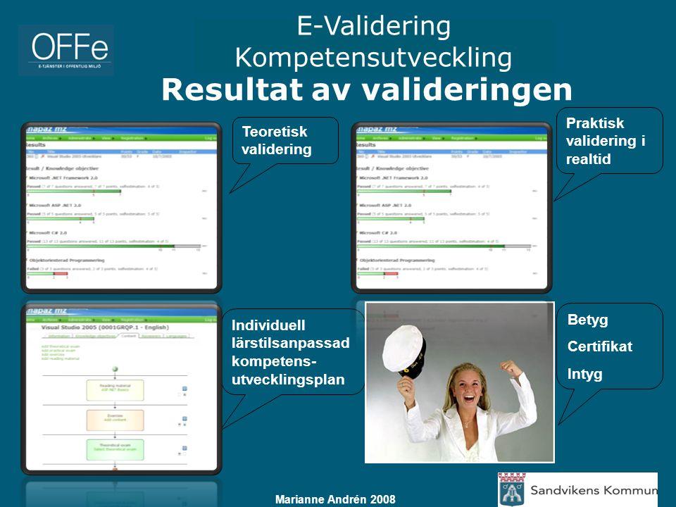 E-Validering Kompetensutveckling Marianne Andrén 2008 Resultat av valideringen Teoretisk validering Praktisk validering i realtid Individuell lärstils