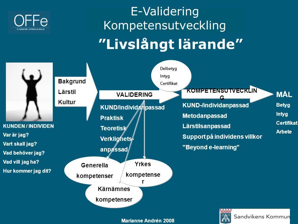 """E-Validering Kompetensutveckling Marianne Andrén 2008 """"Livslångt lärande"""" KUNDEN / INDIVIDEN Var är jag? Vart skall jag? Vad behöver jag? Vad vill jag"""