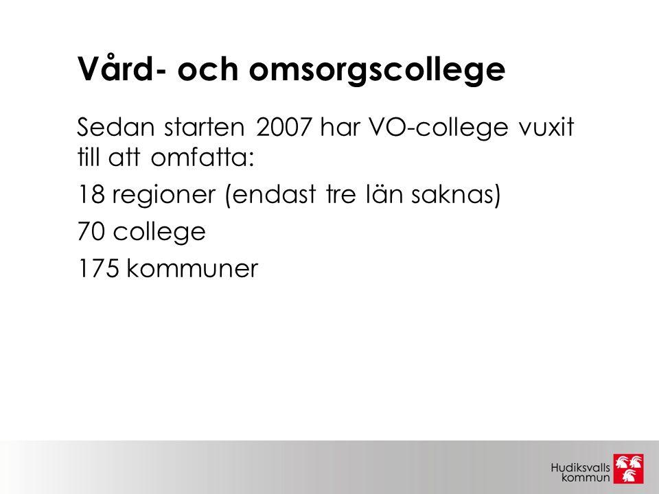 Vård- och omsorgscollege Sedan starten 2007 har VO-college vuxit till att omfatta: 18 regioner (endast tre län saknas) 70 college 175 kommuner