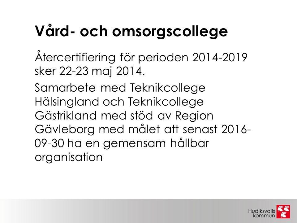 Vård- och omsorgscollege Återcertifiering för perioden 2014-2019 sker 22-23 maj 2014.