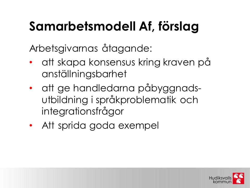 Samarbetsmodell Af, förslag Arbetsgivarnas åtagande: att skapa konsensus kring kraven på anställningsbarhet att ge handledarna påbyggnads- utbildning i språkproblematik och integrationsfrågor Att sprida goda exempel
