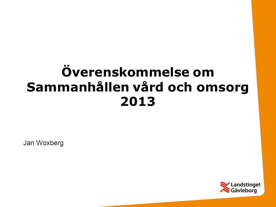 Överenskommelse om Sammanhållen vård och omsorg 2013 Jan Woxberg