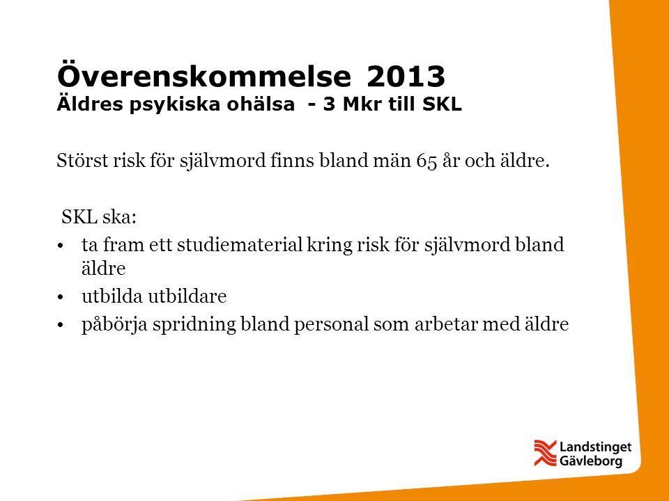Överenskommelse 2013 Äldres psykiska ohälsa - 3 Mkr till SKL Störst risk för självmord finns bland män 65 år och äldre.