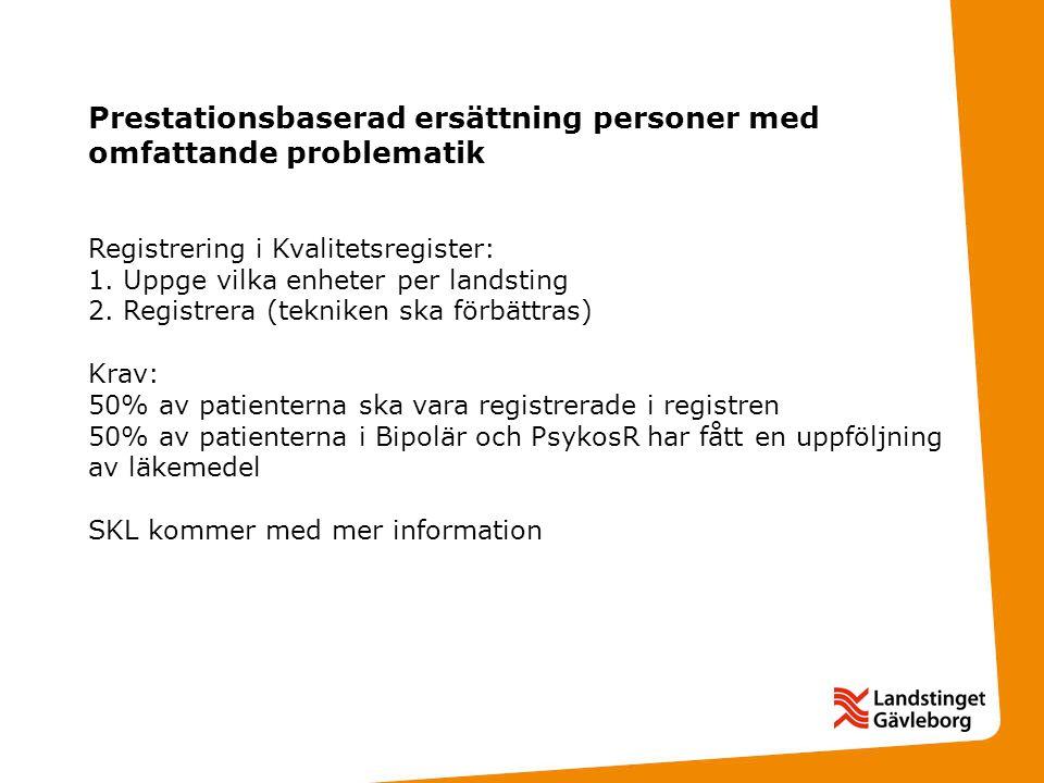 Prestationsbaserad ersättning personer med omfattande problematik Registrering i Kvalitetsregister: 1.