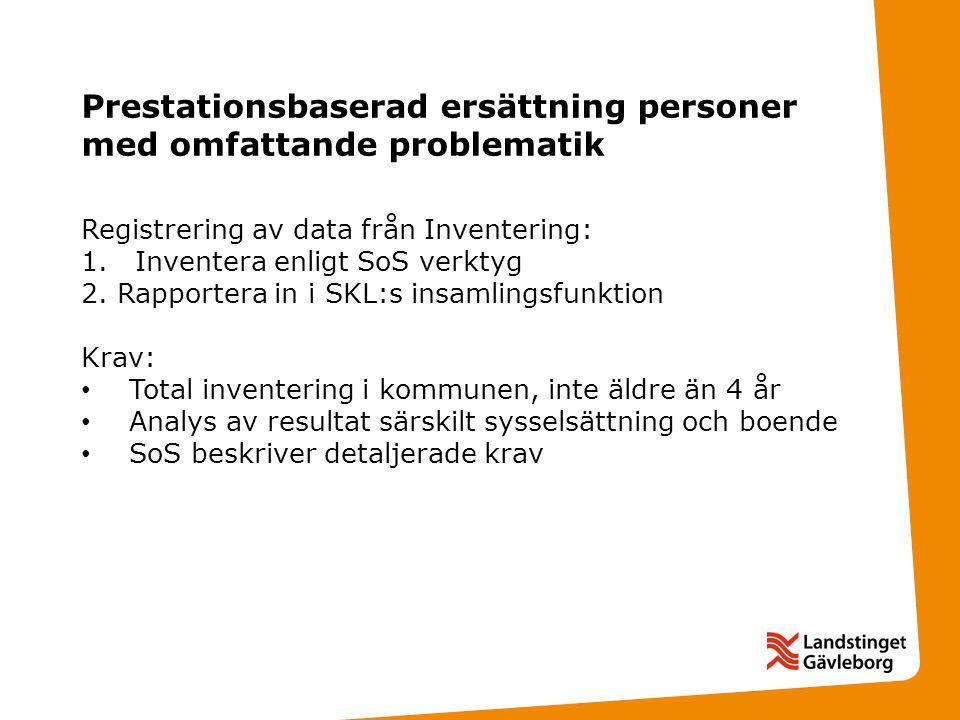 Prestationsbaserad ersättning personer med omfattande problematik Registrering av data från Inventering: 1.Inventera enligt SoS verktyg 2.