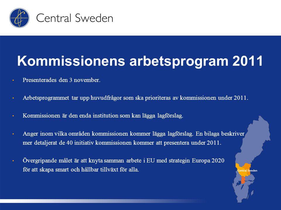 Kommissionens arbetsprogram 2011 Presenterades den 3 november.