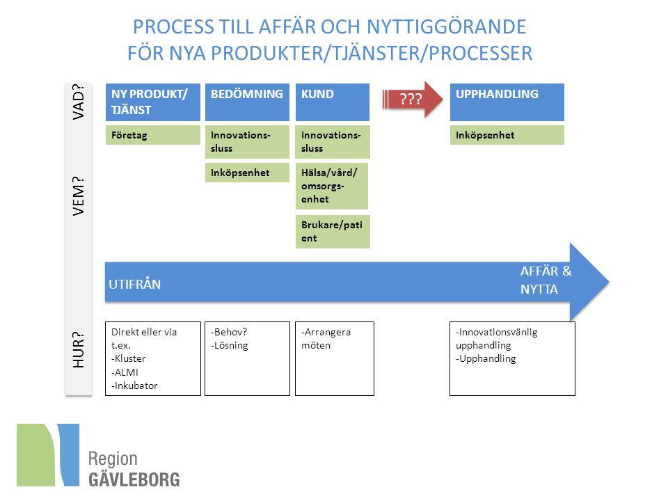 PROCESS TILL AFFÄR OCH NYTTIGGÖRANDE FÖR NYA PRODUKTER/TJÄNSTER/PROCESSER FöretagInnovations- sluss Direkt eller via t.ex. -Kluster -ALMI -Inkubator -