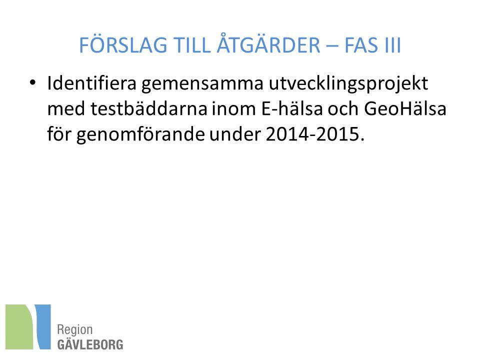FÖRSLAG TILL ÅTGÄRDER – FAS III Identifiera gemensamma utvecklingsprojekt med testbäddarna inom E-hälsa och GeoHälsa för genomförande under 2014-2015.
