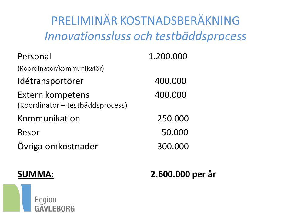 PRELIMINÄR KOSTNADSBERÄKNING Innovationssluss och testbäddsprocess Personal 1.200.000 (Koordinator/kommunikatör) Idétransportörer 400.000 Extern kompetens 400.000 (Koordinator – testbäddsprocess) Kommunikation 250.000 Resor 50.000 Övriga omkostnader 300.000 SUMMA: 2.600.000 per år
