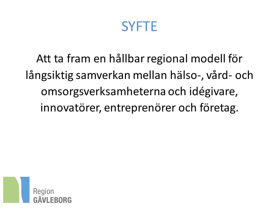 SYFTE Att ta fram en hållbar regional modell för långsiktig samverkan mellan hälso-, vård- och omsorgsverksamheterna och idégivare, innovatörer, entreprenörer och företag.