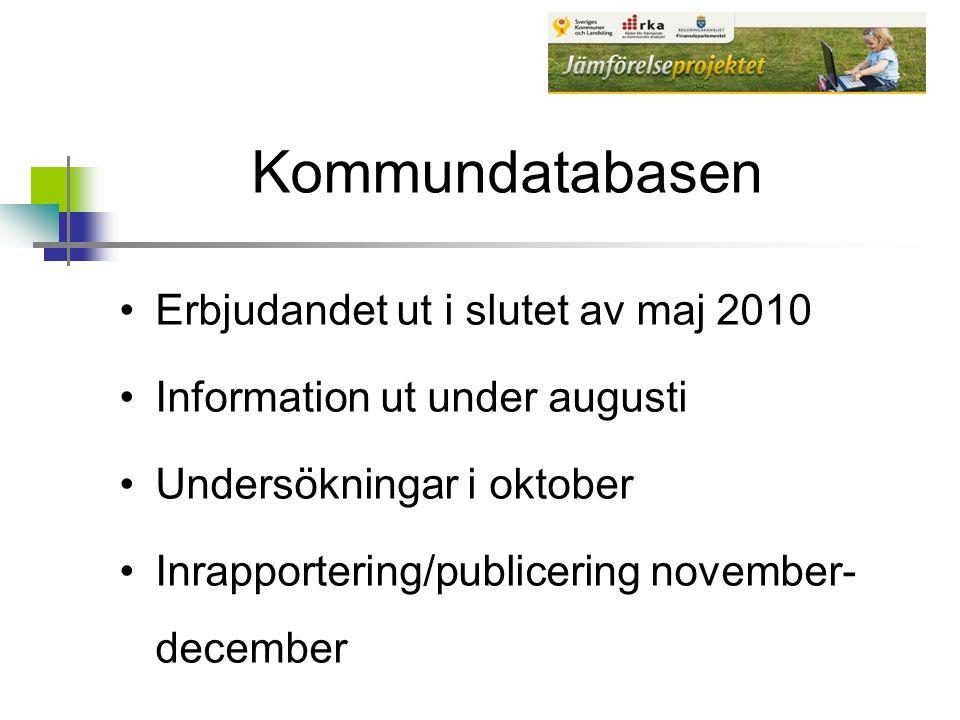 Kommundatabasen Erbjudandet ut i slutet av maj 2010 Information ut under augusti Undersökningar i oktober Inrapportering/publicering november- decembe