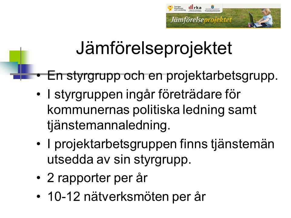 Jämförelseprojektet En styrgrupp och en projektarbetsgrupp.