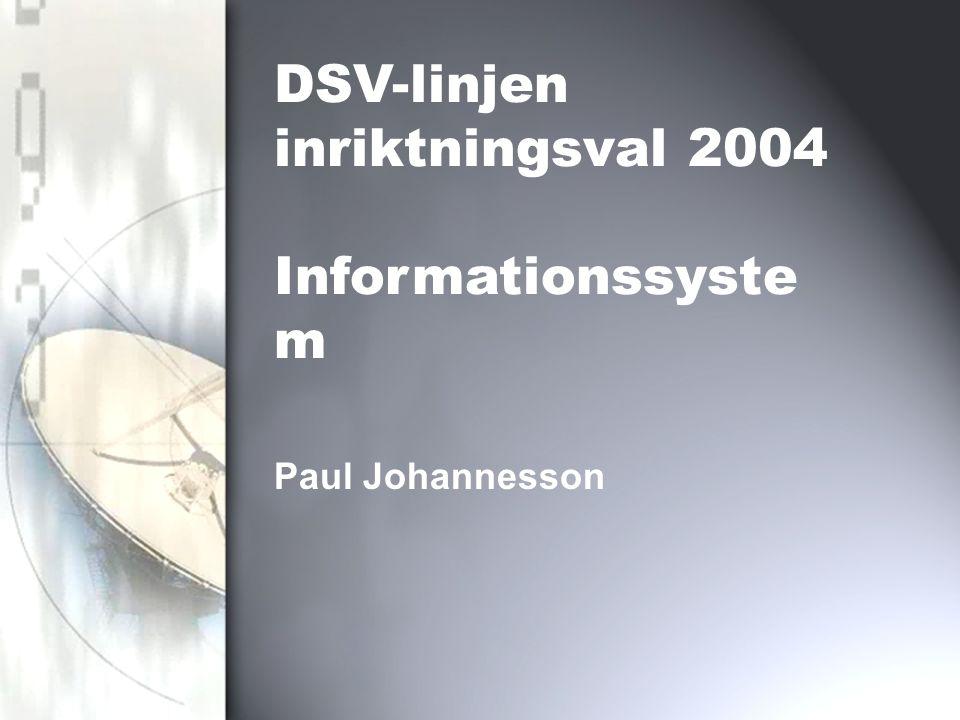 Paul Johannesson DSV-linjen inriktningsval 2004 Informationssyste m