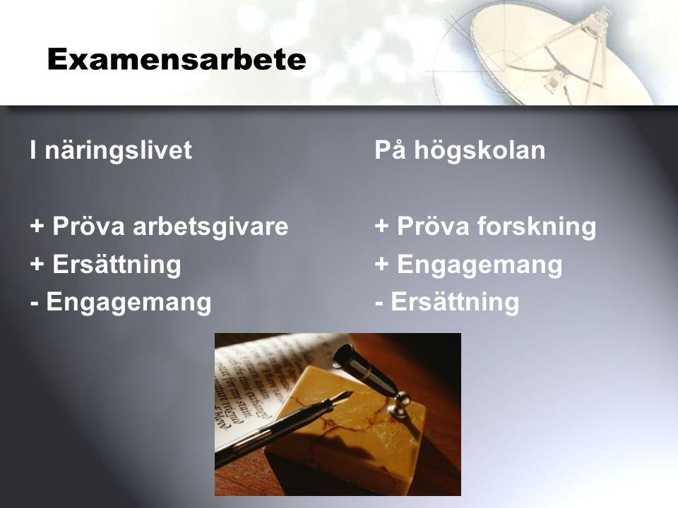 Examensarbete I näringslivet + Pröva arbetsgivare + Ersättning - Engagemang På högskolan + Pröva forskning + Engagemang - Ersättning
