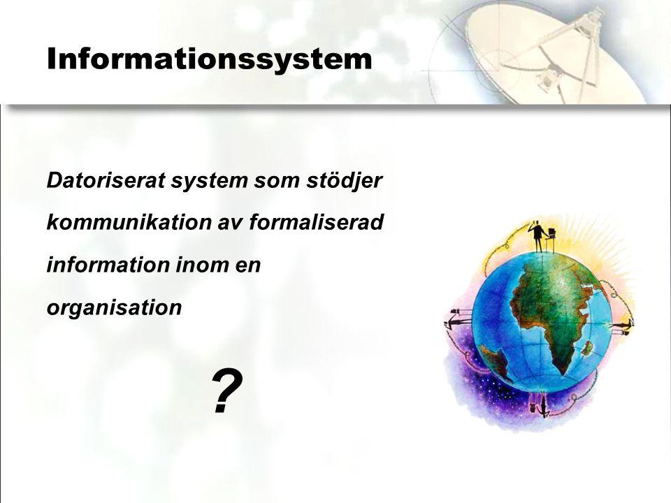Informationssystem Datoriserat system som stödjer kommunikation av formaliserad information inom en organisation