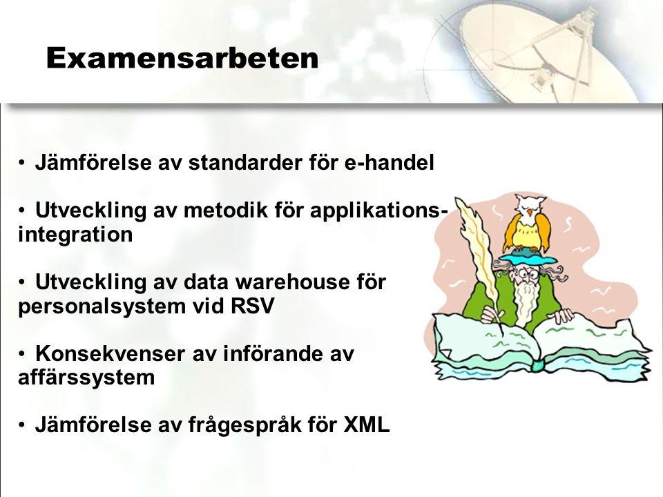 Examensarbeten Jämförelse av standarder för e-handel Utveckling av metodik för applikations- integration Utveckling av data warehouse för personalsystem vid RSV Konsekvenser av införande av affärssystem Jämförelse av frågespråk för XML