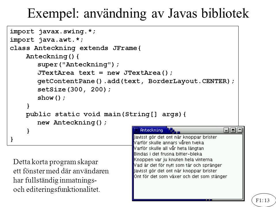 F1: 13 Exempel: användning av Javas bibliotek import javax.swing.*; import java.awt.*; class Anteckning extends JFrame{ Anteckning(){ super(