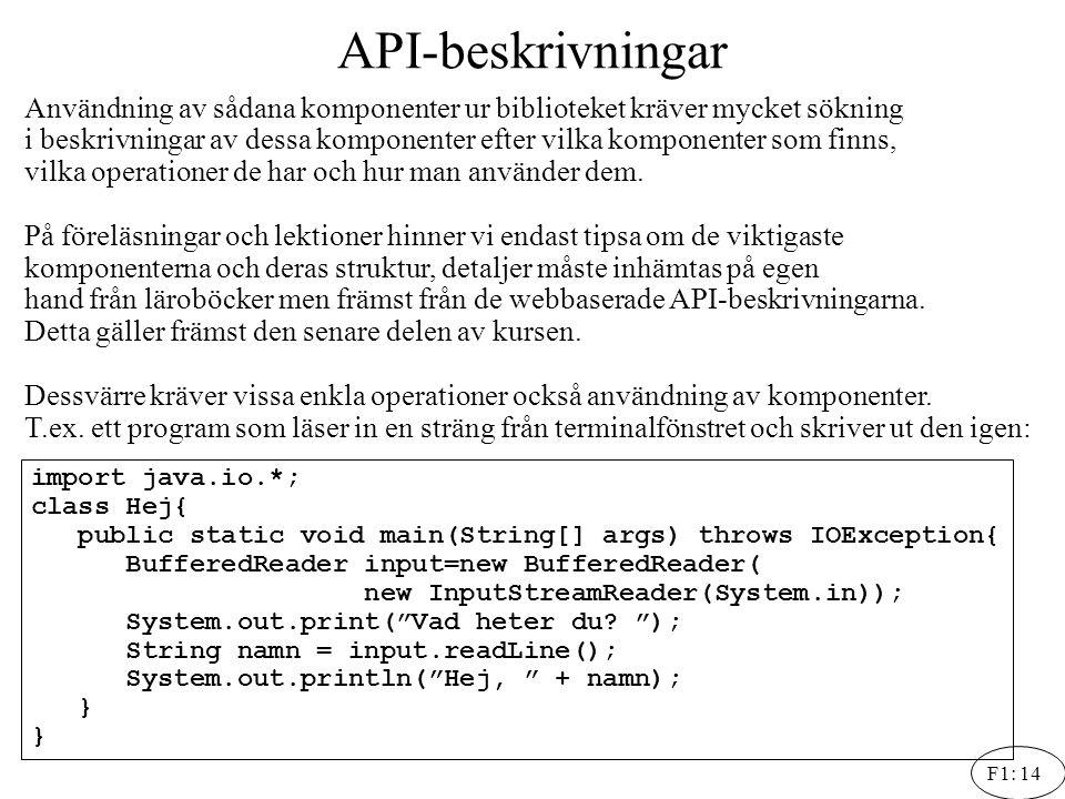 F1: 14 API-beskrivningar Användning av sådana komponenter ur biblioteket kräver mycket sökning i beskrivningar av dessa komponenter efter vilka kompon