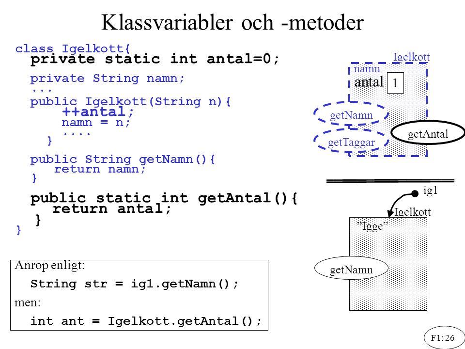 F1: 26 Klassvariabler och -metoder ig1 class Igelkott{ private static int antal=0; private String namn;... public Igelkott(String n){ ++antal; namn =