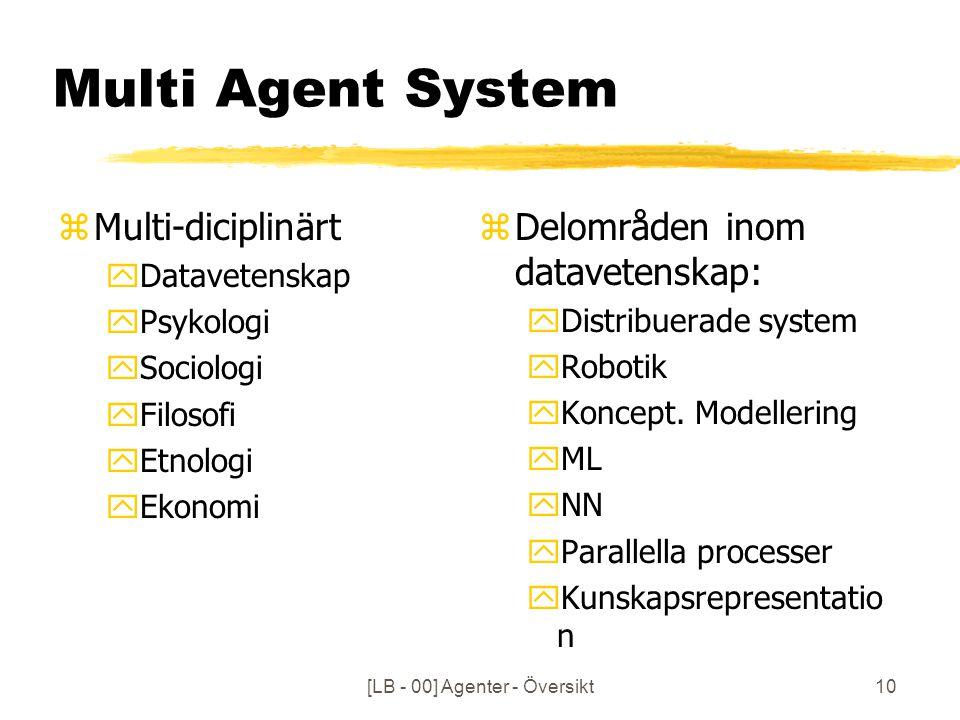 [LB - 00] Agenter - Översikt10 Multi Agent System zMulti-diciplinärt yDatavetenskap yPsykologi ySociologi yFilosofi yEtnologi yEkonomi z Delområden inom datavetenskap: yDistribuerade system yRobotik yKoncept.