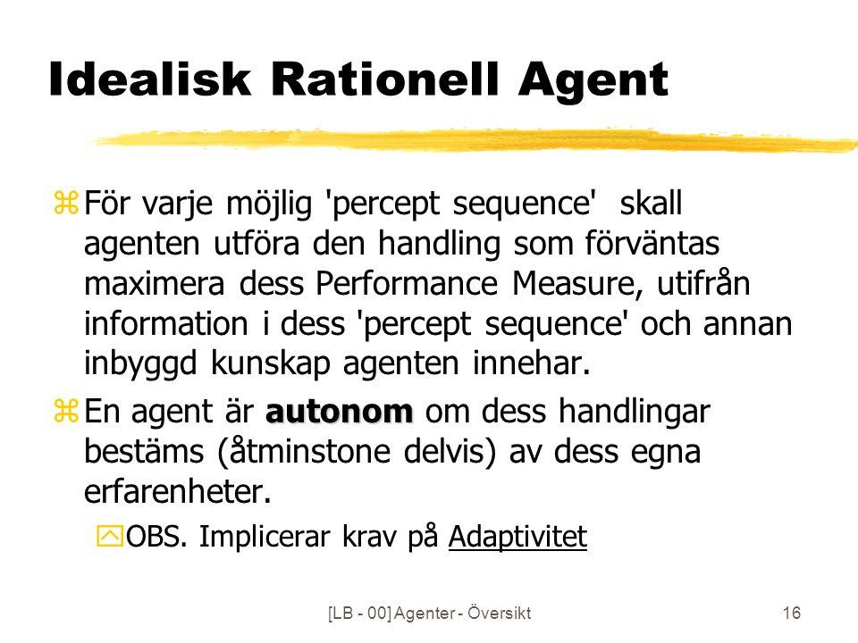 [LB - 00] Agenter - Översikt16 Idealisk Rationell Agent zFör varje möjlig percept sequence skall agenten utföra den handling som förväntas maximera dess Performance Measure, utifrån information i dess percept sequence och annan inbyggd kunskap agenten innehar.