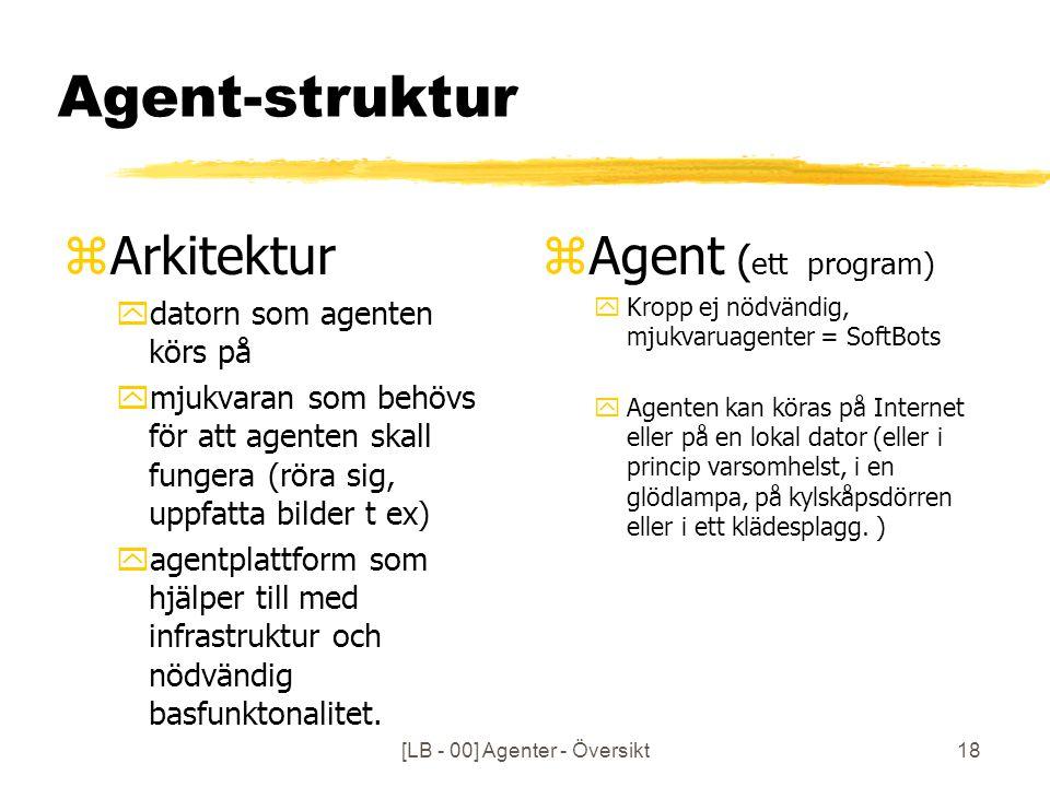 [LB - 00] Agenter - Översikt18 Agent-struktur zArkitektur ydatorn som agenten körs på ymjukvaran som behövs för att agenten skall fungera (röra sig, uppfatta bilder t ex) yagentplattform som hjälper till med infrastruktur och nödvändig basfunktonalitet.