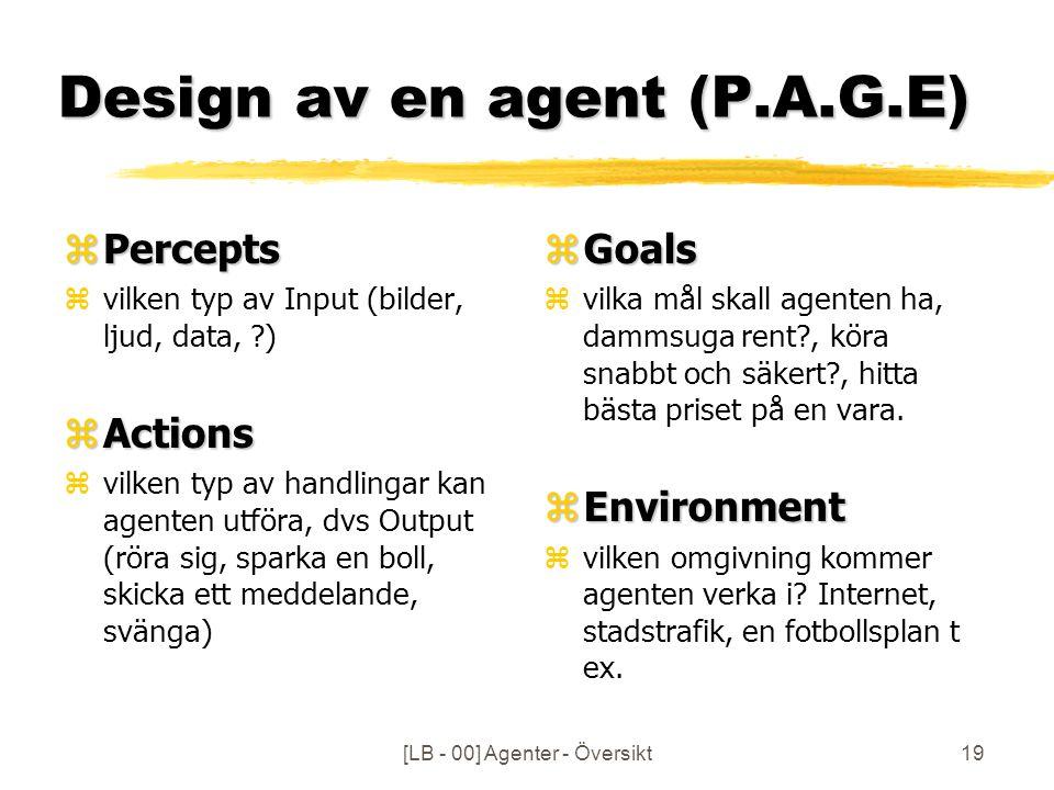 [LB - 00] Agenter - Översikt19 Design av en agent (P.A.G.E) zPercepts zvilken typ av Input (bilder, ljud, data, ?) zActions zvilken typ av handlingar kan agenten utföra, dvs Output (röra sig, sparka en boll, skicka ett meddelande, svänga) z Goals z vilka mål skall agenten ha, dammsuga rent?, köra snabbt och säkert?, hitta bästa priset på en vara.