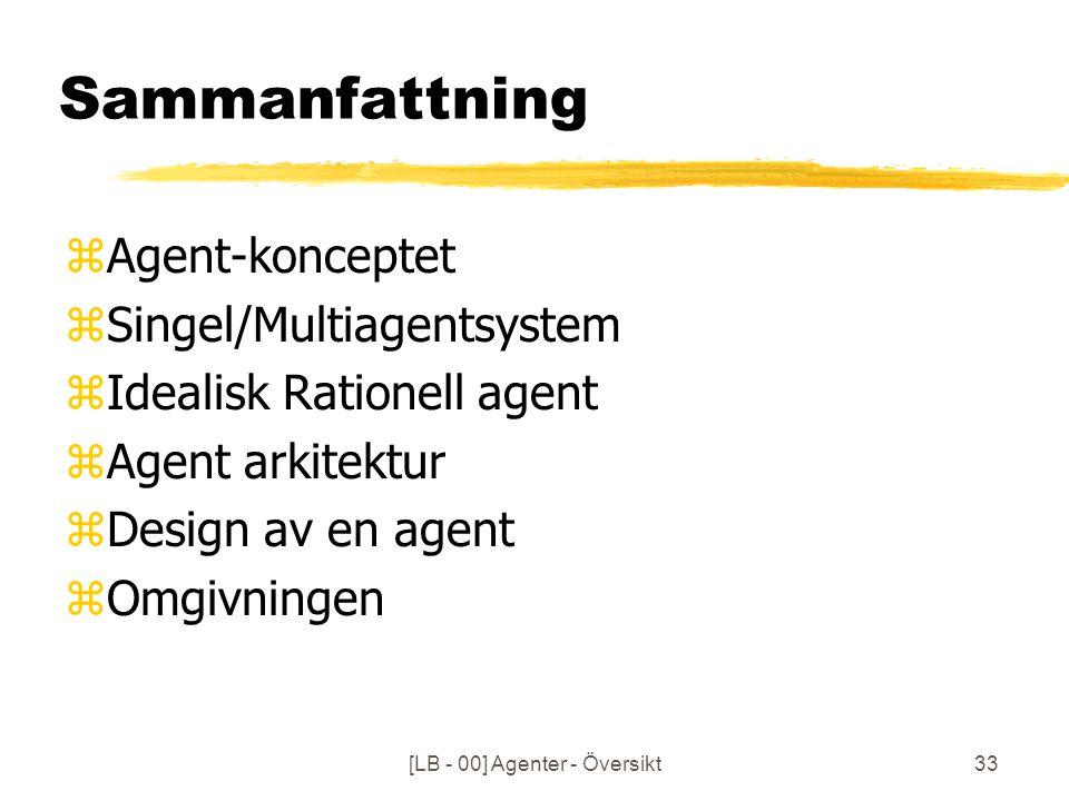 [LB - 00] Agenter - Översikt33 Sammanfattning zAgent-konceptet zSingel/Multiagentsystem zIdealisk Rationell agent zAgent arkitektur zDesign av en agent zOmgivningen